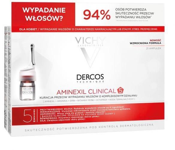 Vichy dercos aminexil clinical 5 kuracja przeciw wypadaniu włosów o kompleksowym działaniu dla kobiet x 21 amp