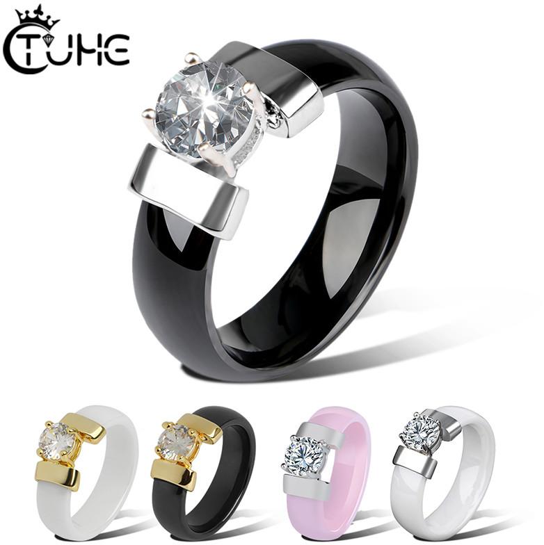 W nowym stylu 6mm pierścienie ceramiczne czarny biały pierścionek z cyrkoniami dla kobiet złoty
