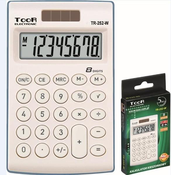 TOOR Kalkulator kieszonkowy 8-pozycyjny TR-252-W