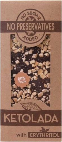 KETOLADA (czekolada z erytrytolem) TABLICZKA Z MIGDAŁAMI BEZ DODATKU CUKRÓW 100 g - KETOLADA BP-5904365084017