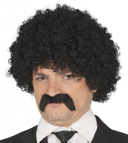 PARTY WORLD Peruka męska, czarne, kręcone włosy z wąsami PERUKA/0829-G
