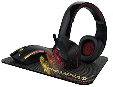 GAMDIAS Kit Gaming  ArtemisRatón óptico Zeus E232000dpiAURICULAR con micrófono Eros E17coloresalfomb Alfombrilla Nyx E1