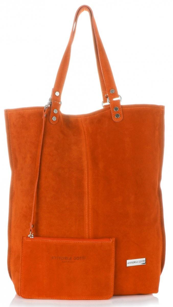 0bc4be4acec78 Vittoria Gotti Uniwersalne Torebki Skórzane Firmowy Włoski Shopperbag Vittoria  Gotti w rozmiarze XXL Zamsz Naturalny wysokiej