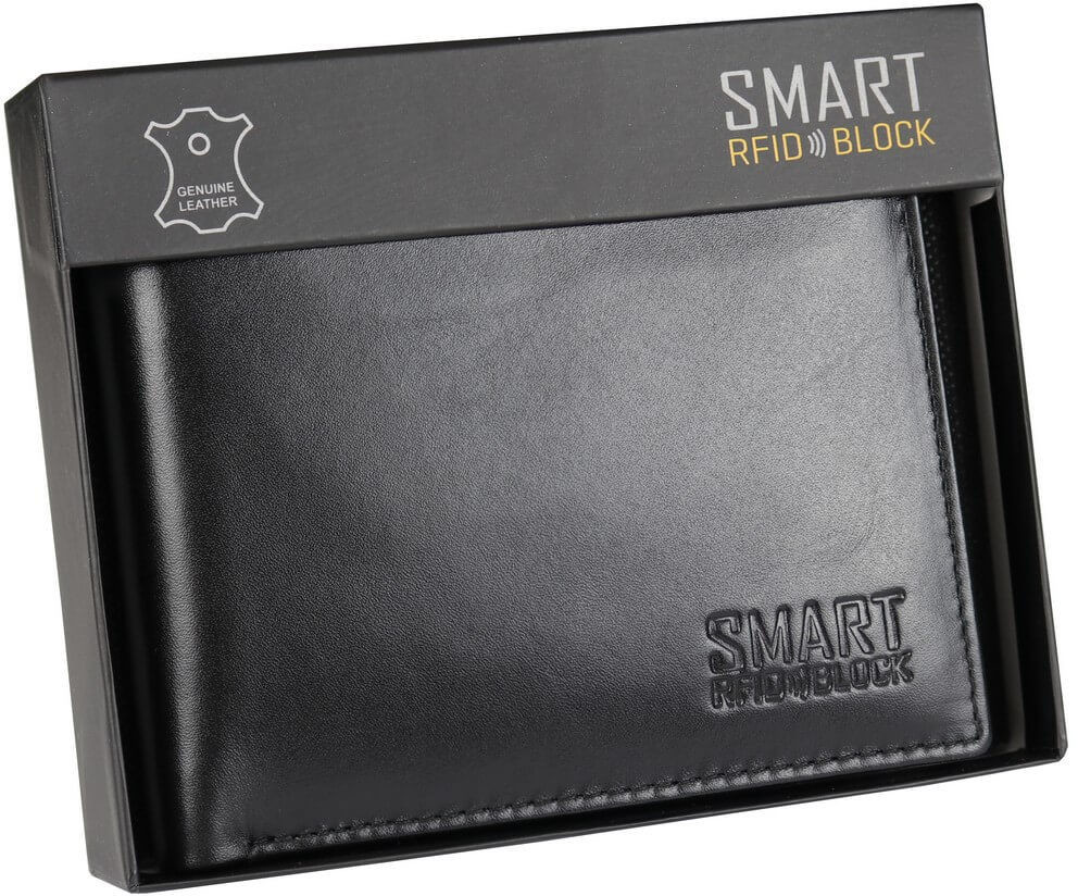 Koruma Męski Antykradzieżowy Portfel RFID Chroni Karty Zbliżeniowe SM-902PBL SM-902PBL