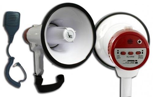 VK Dużej Mocy Profesjonalny Megafon z Wbudowaną Syreną Alarmową Gruszką oraz Wbudowanym Megafon+Gruszka+Syrena Alarmowa+Pasek 59077734154422