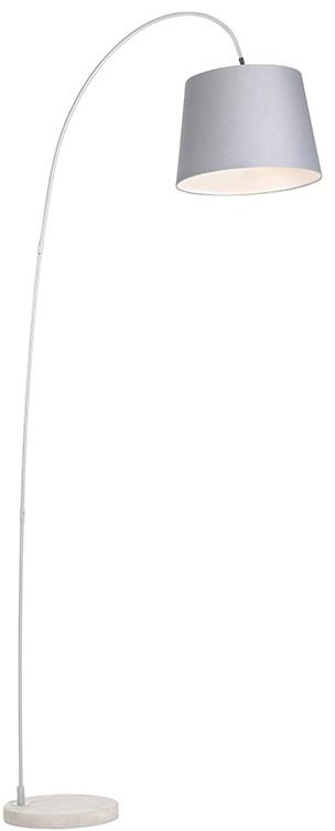QAZQA Lampa podlogowa Bend z szarym kloszem 94753
