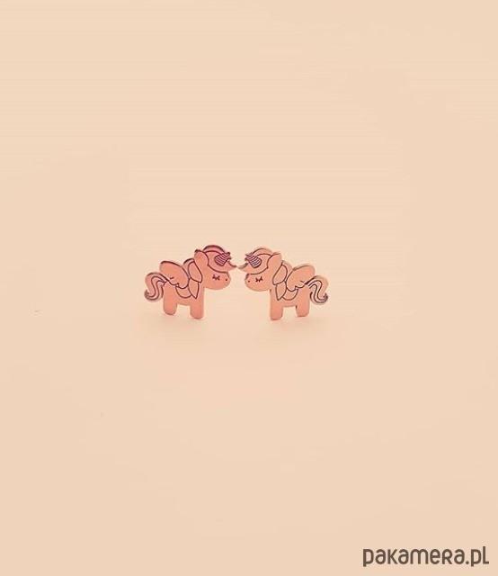 Różowe złoto jednorożce kolczyki