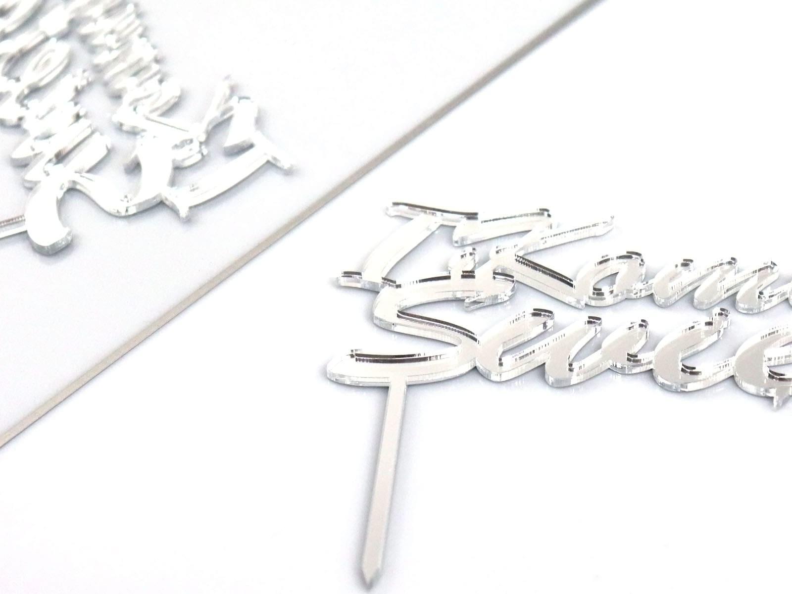 Congee.pl Topper z lustrzanej pleksi srebrny na tort 0 - 12 cm DTU-00-PLE-018
