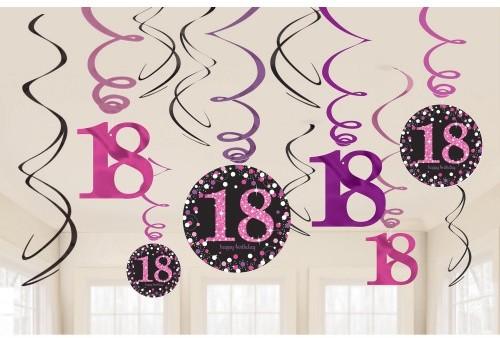 Amscan Dekoracyjne sprężynki 18 Urodziny Błyszczące róż 12 szt. 9900581