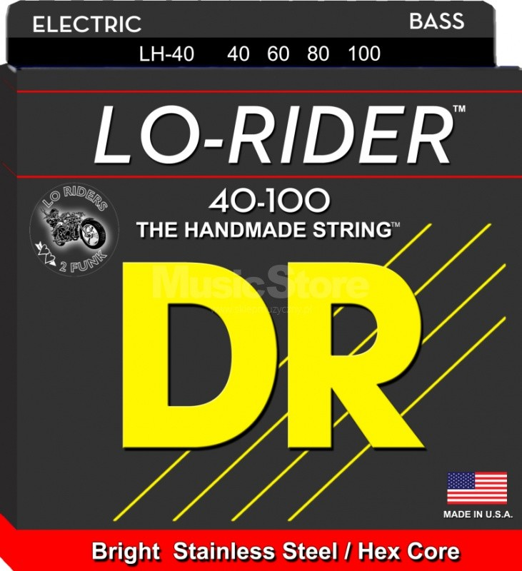 DR Strings lo-rider - lh-40 - Bass String Set, 4-String, Light, .040-.100