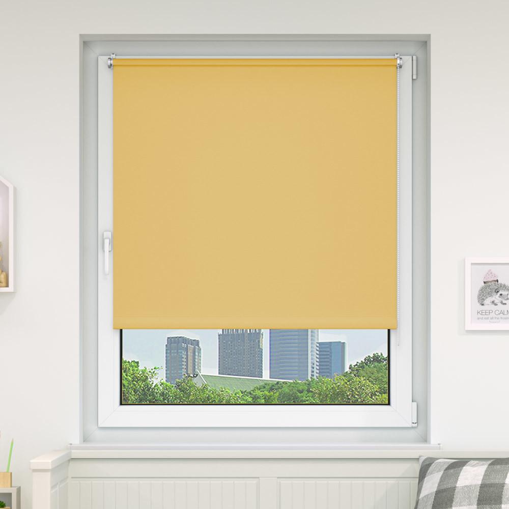 Victoria-M Roleta materiałowa bezinwazyjna, Przyciemniająca, Gotowa, BASIC, zółta, 40x100 cm