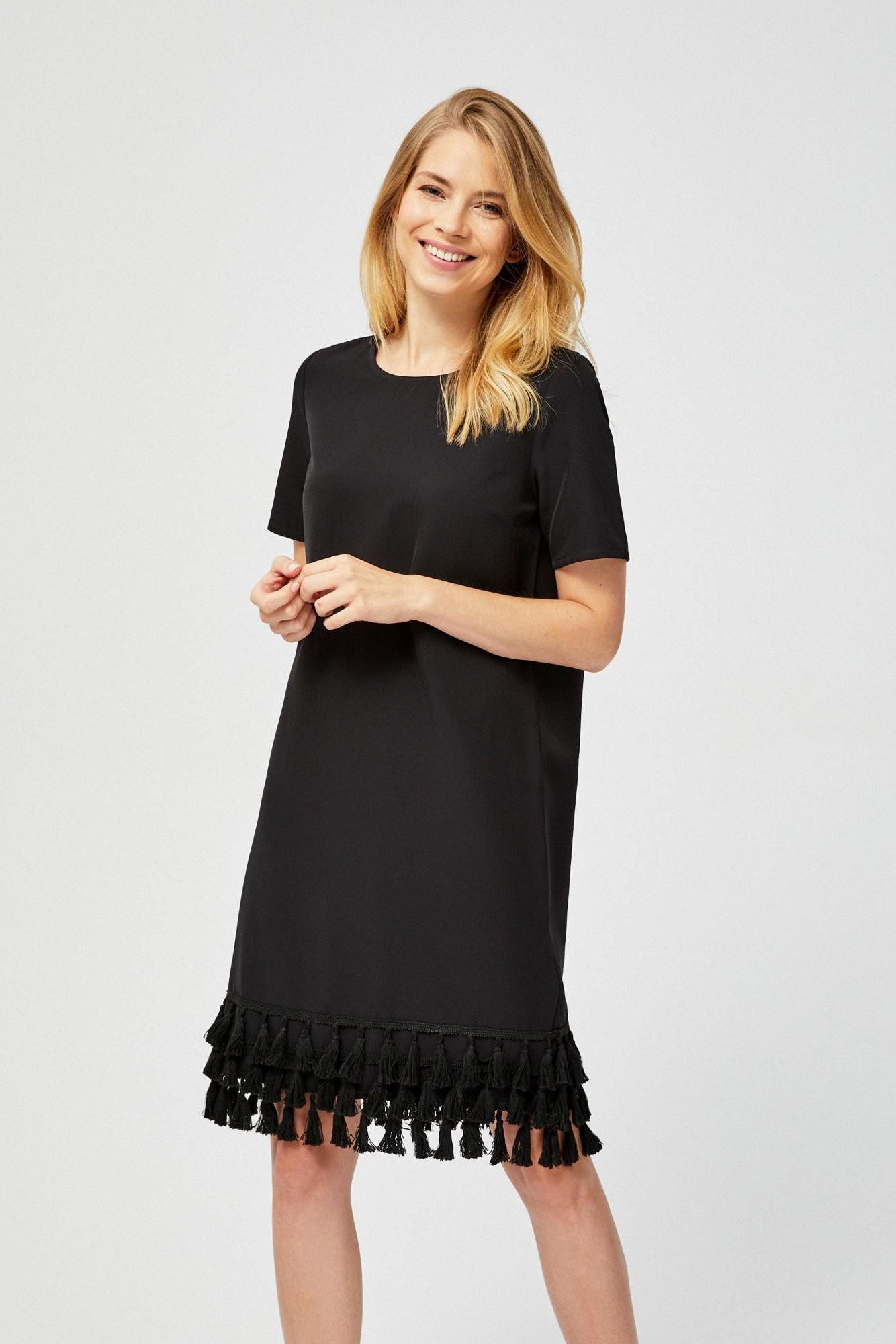 Moodo Sukienka z frędzlami Z-SU-2729 BLACK; XS