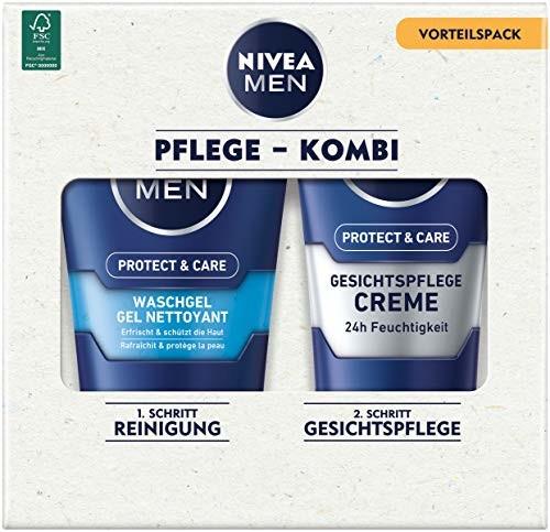 Nivea MEN Face Duo Pack, zestaw do pielęgnacji twarzy z żelem do mycia Men Protect & Care (100 ml) i kremem do pielęgnacji twarzy Men Protect & Care (75 ml), zestaw do pielęgnacji dla mężc