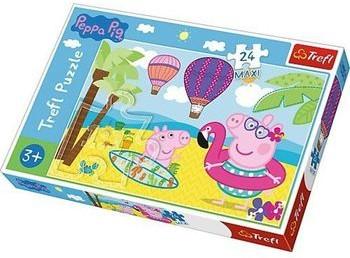 Trefl Puzzle 24 maxi Świnka Peppa na wakacjach
