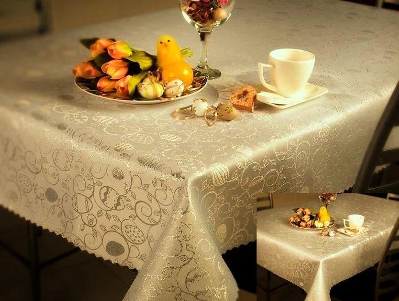 Euromat Dwustronny Obrus Plamoodporny Wielkanoc 2425 Jajko Ornament Okrągły Złoty 11137/2425GOLD
