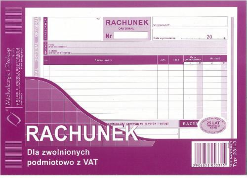 Michalczyk&Prokop RACHUNEK A5 DLA ZWOLNIONYCH PODMIOTOWO Z VAT 80 kartek 1+1 231-3 MiP