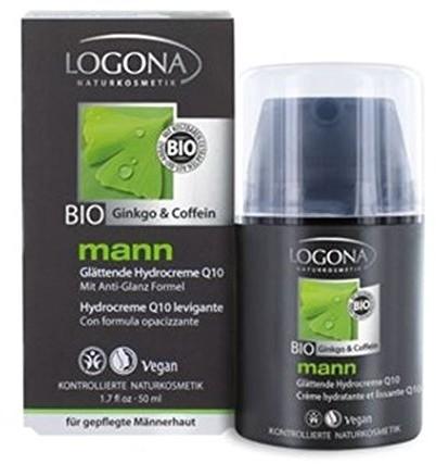 Logona naturalny kosmetyki mężczyzna glaettende Hydro kremowy, kremowy, zmniejszenia zmarszczki i szybko się wchłania, Vegan, z bio-Q10 kofeiną, zintegrowane Bart pielęgnacji twarzy, 50 ML 2169