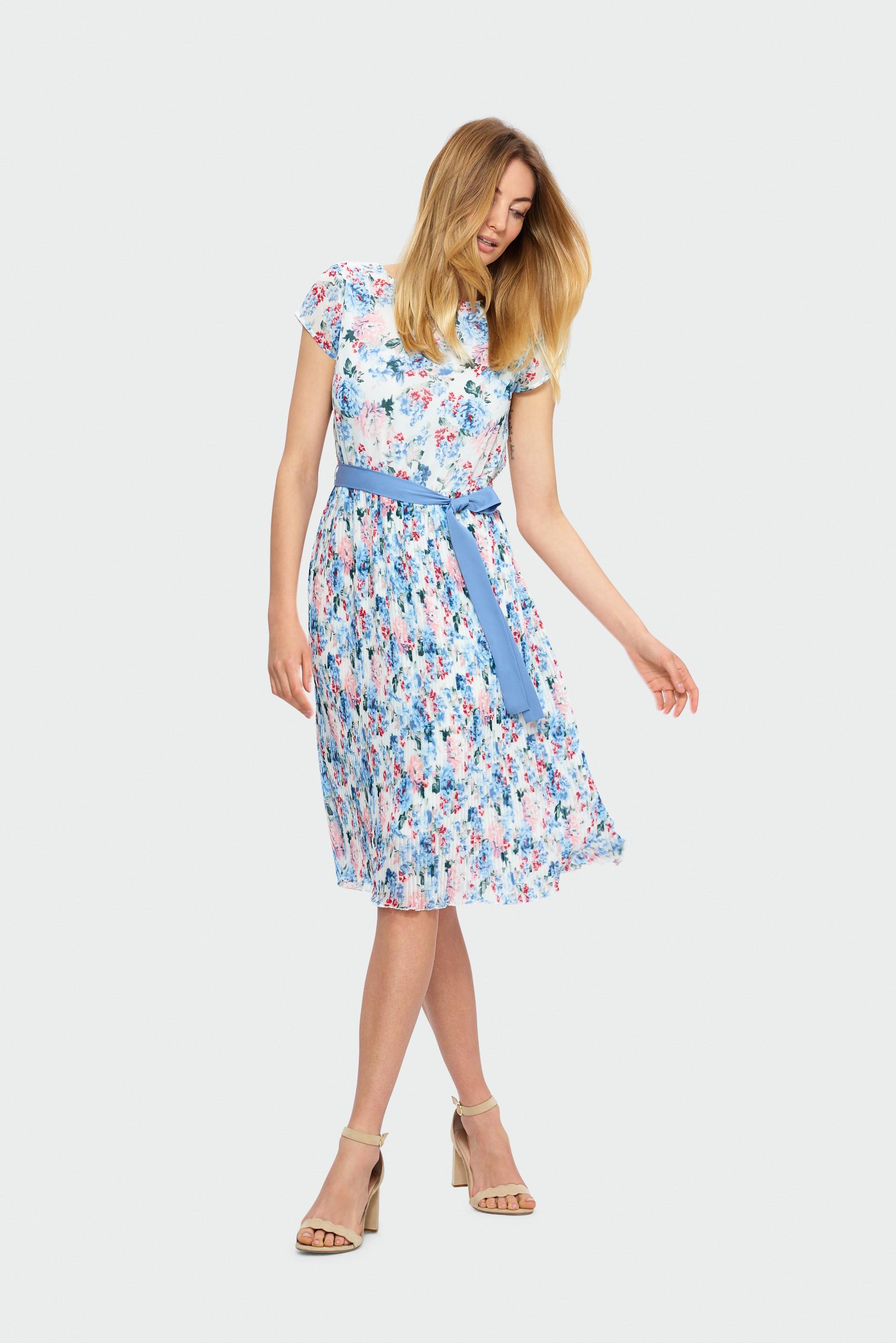 Greenpoint Plisowana sukienka z wiązaniem w talii SUK551S19FLW68