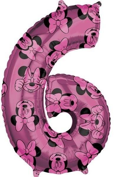 Amscan Balon foliowy, Myszka Minnie, cyfra 6, różowy, 1 sztuka