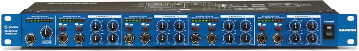 Samson S-phone - 4 kanałowy wzmacniacz słuchawkowy, 3 wyjścia słuchawkowe na kanał, 19