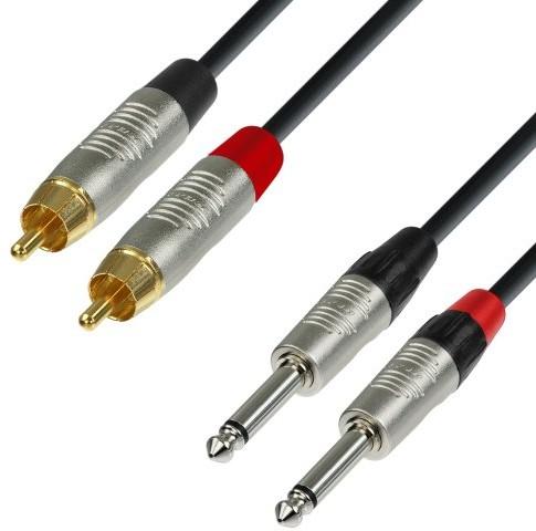 ah Cables adam hall 4Star Series Audio rean kabla (3m, 2X wtyczka cinch męski na 2X 6,3MM JACK Mono) K4TPC0300