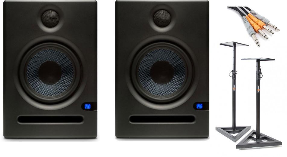 PreSonus Eris E5 - Para monitorów aktywnych + statywy + okablownie 86190