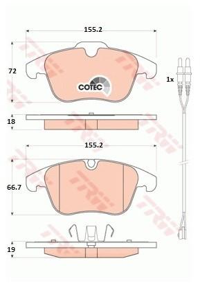 TRW Zestaw klocków hamulcowych, hamulce tarczowe GDB1818