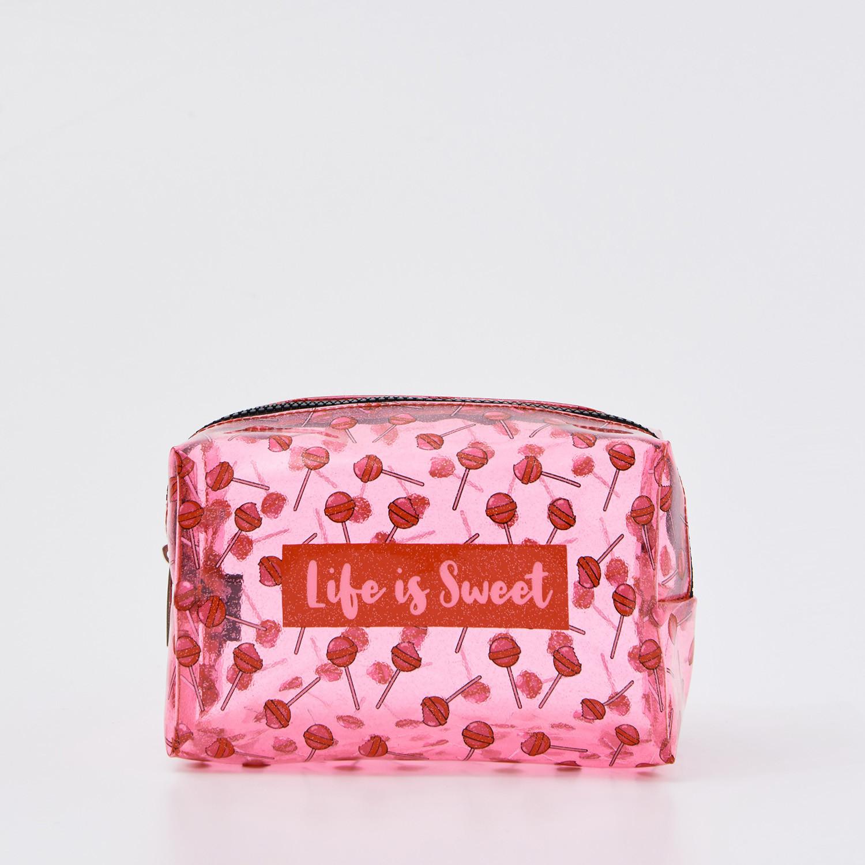 Sinsay Sinsay - Kosmetyczka z nadrukiem - Różowy