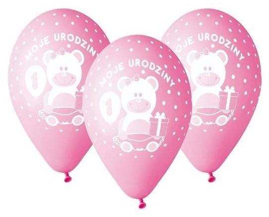 Godan Balony 30cm Moje 1 urodziny z misiem 5 sztuk różowe GD-M1UD1 GD-M1UD1