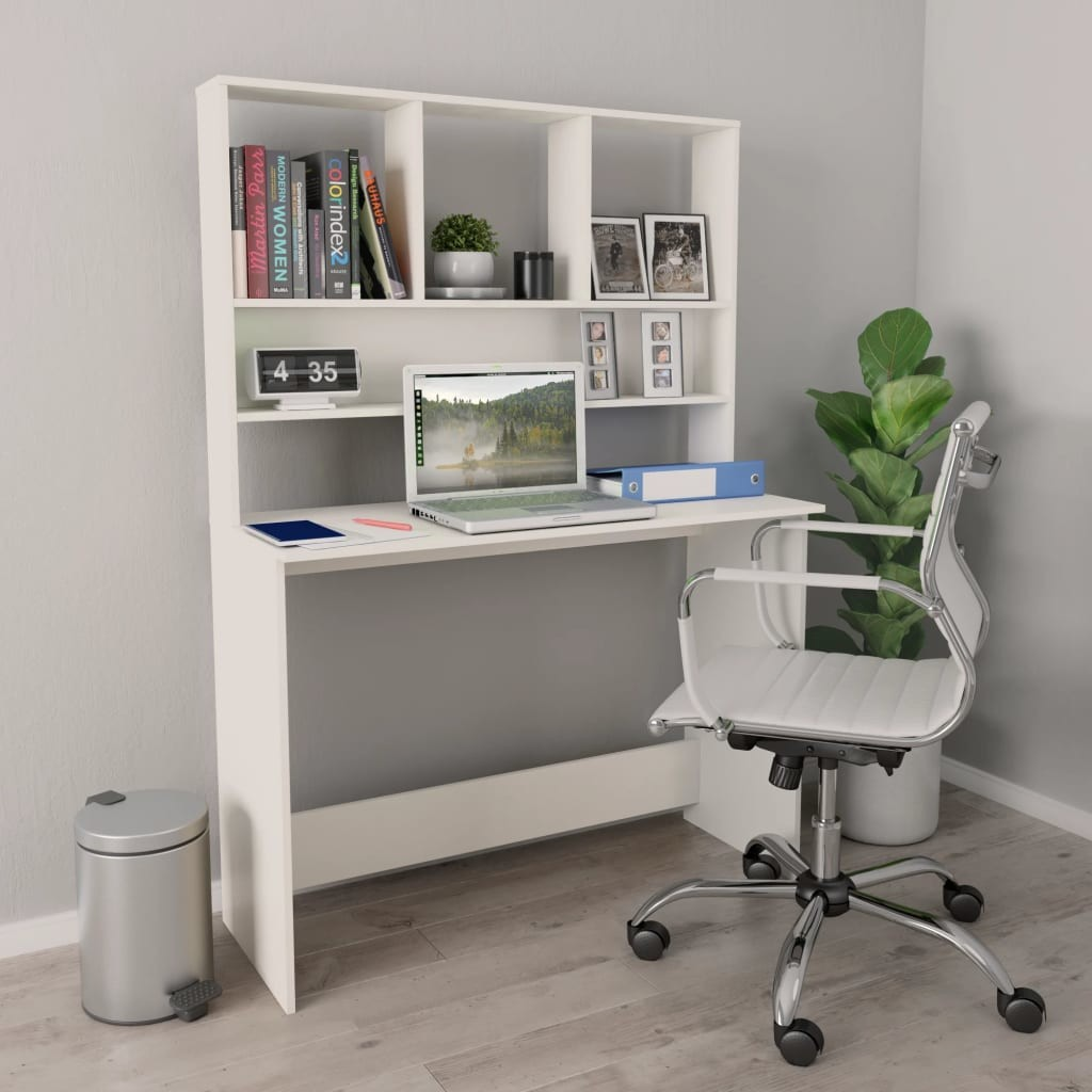 vidaXL vidaXL Biurko z półkami, białe, 110x45x157 cm