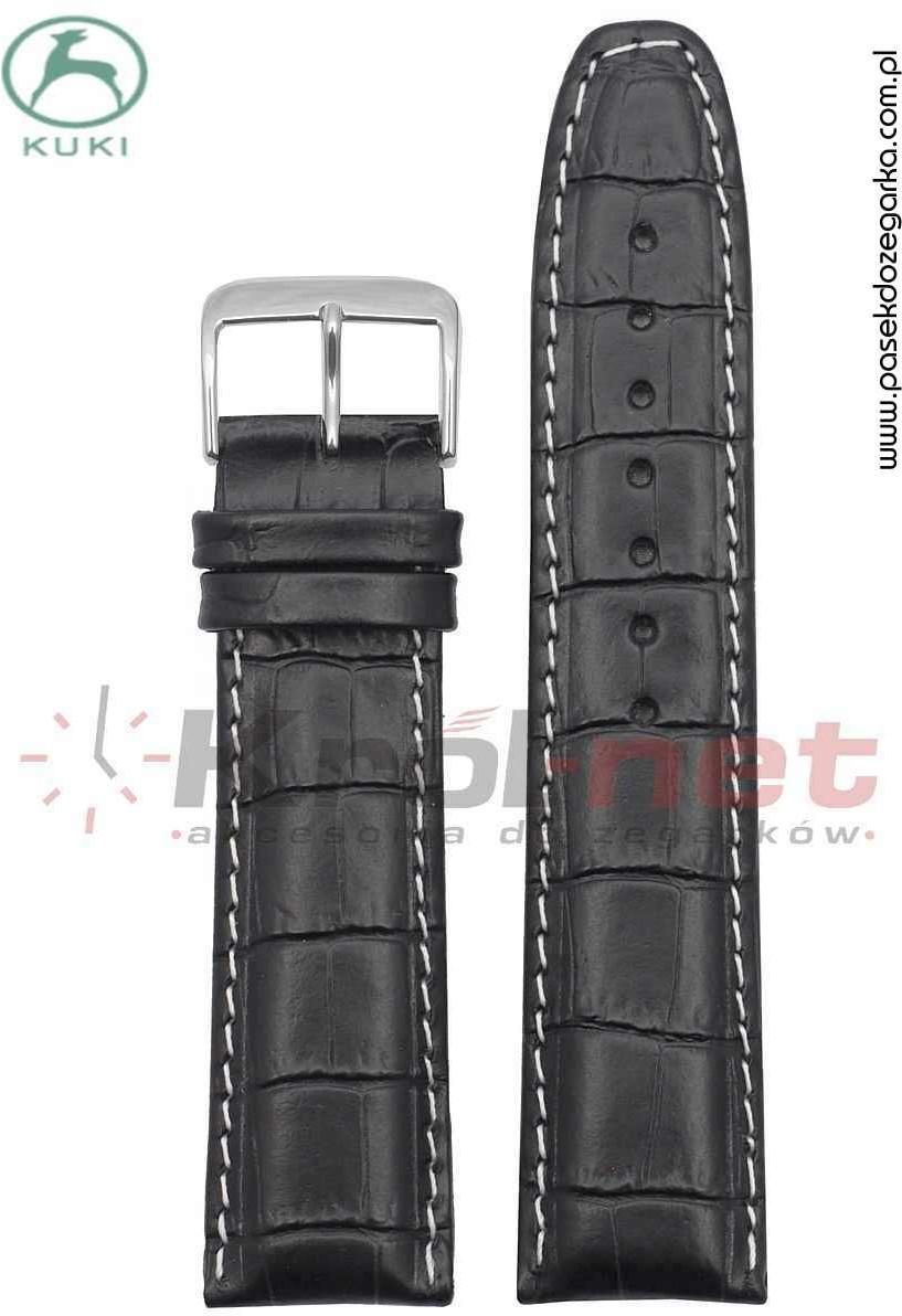Kuki Pasek do zegarka Kuki K_308B.KR_B/20 - czarny, imitacja krokodyla K_308B.KR_B/20