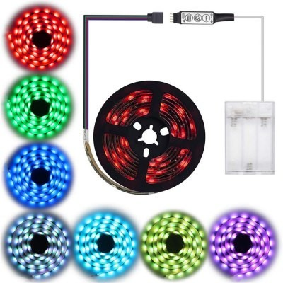 Leds-C4 ZDM Battery power 5050 RGB Waterproof Background strip light 30 per meter with 3 key controller