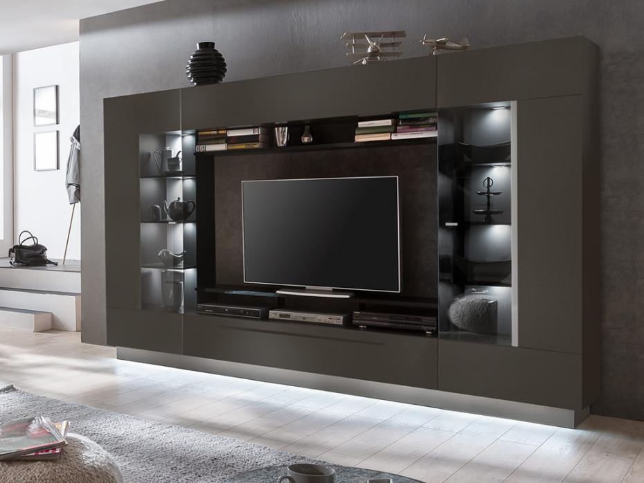 Vente-Unique Ścianka RTV BLAKE z półkami oświetlenie LED antracytowy lakier