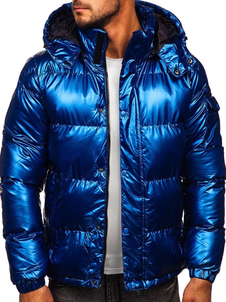 Denley J.boyz Niebieska pikowana kurtka męska zimowa 1165