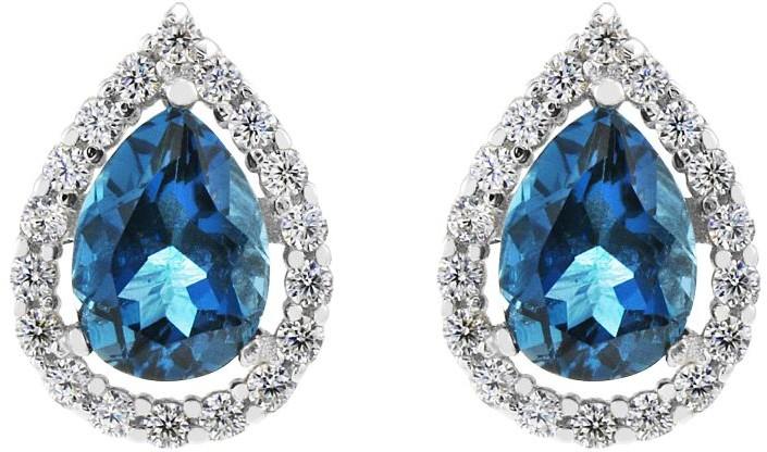 Gemstone London Blue Topaz Cluster Stud Earrings G0119E-LBT