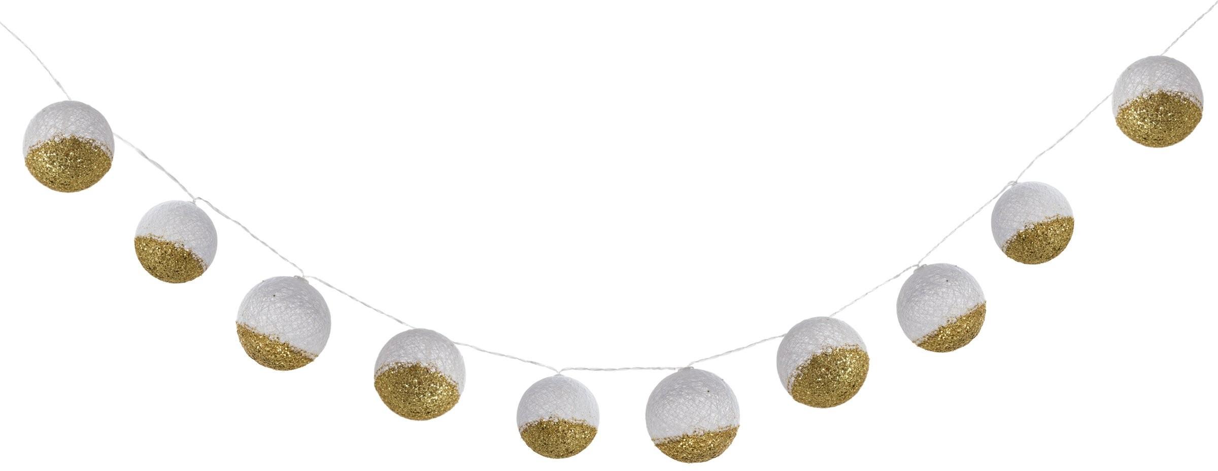 Atmosphera Kulki dekoracyjne łańcuch biało-złoty wisząca dekoracja B07MYJ98NX
