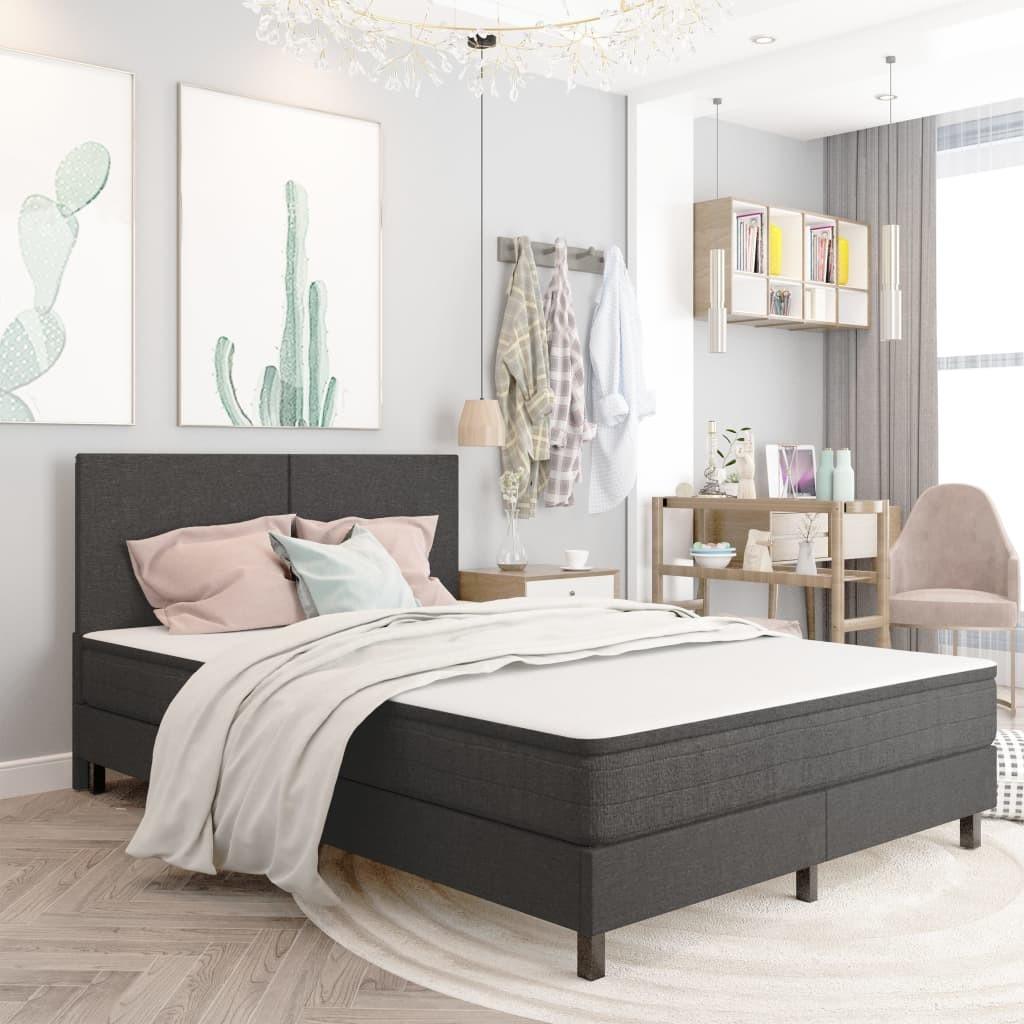 vidaXL Rama łóżka, szara, tapicerowana tkaniną, 140 x 200 cm
