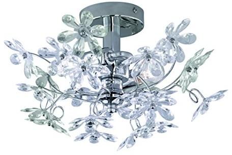 Reality Leuchten Reality lampy lampa sufitowa lampa ścienna z wyraźnym i kolorowymi kwiatami, 2X E14maksymalnie 40W bez źródeł światła, średnica 38cm, chrom, r20012017 R20012017