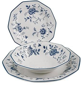 Churchill Chill usługi-tabeli zastawa stołowa na 18do Earth Blue Rose 5301