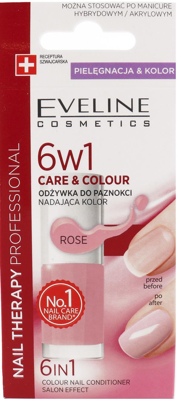 Eveline Nail Therapy 6w1 Care & Colour Odżywka Do Paznokci Nadająca Kolor Rose 5ml
