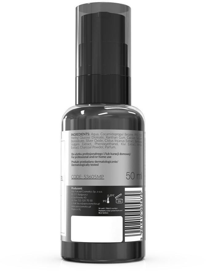 Apis Professional Oczyszczający żel do mycia twarzy z aktywnym węglem Apis Detox 50 ml
