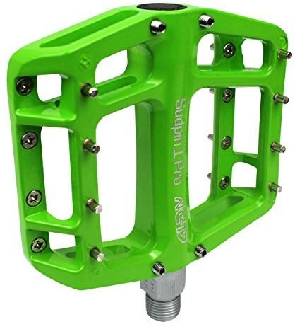 NC-17 Sudpin I Pro aluminiowe pedały platformowe do rowerów MTB/ BMX, łożysko kulkowe i oś chromowo-molibdenowa, w zestawie z zapasowymi pinami, różne kolory, zielony, nie dotyczy 7089