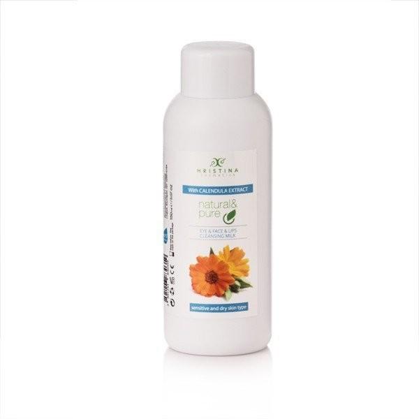 Hristina Hristina Naturalne mleczko oczyszczające do oczu, twarzy i ust - nagietek 150 ml