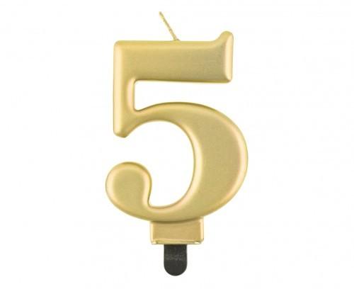 GoDAN Świeczka na tort cyferka 5, złota metaliczna SCZM/4354-5