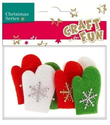 Ozdoba dekoracyjna filc rękawiczki 6el