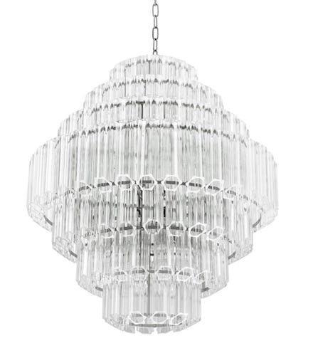 Casablanca Crystal Tubes & Chrome 66cm- żyrandol kryształowy 66 CH Chrome