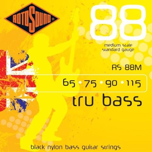 Rotosound rotos górne czarne Grubość strun nylonowych, flachgewickelt, Standard średni 657590115 RS88M