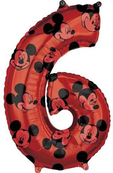 Amscan Balon foliowy, Myszka Mickey, cyfra 6, czerwony, 1 sztuka