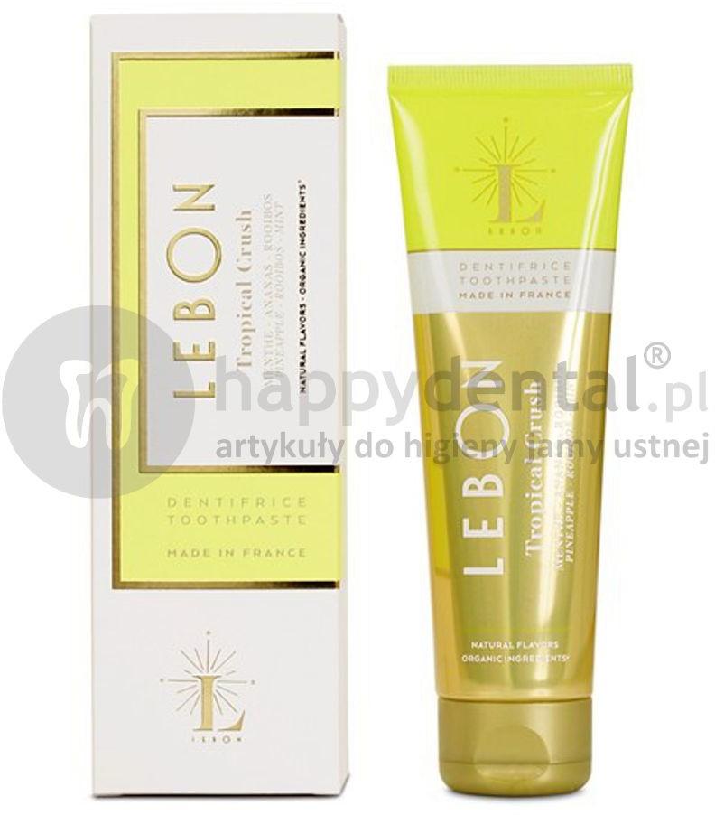 Lebon LEBON Tropical Crush Toothpaste 75ml (żółta) - owocowa pasta do zębów z naturalnych składników o smaku egzotycznej mieszanki mięty, ananasu i roibosu