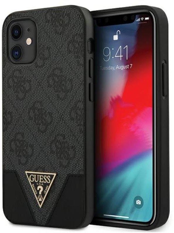 Guess 4G Triangle Collection - Etui iPhone 12 mini (szary) 3700740480311